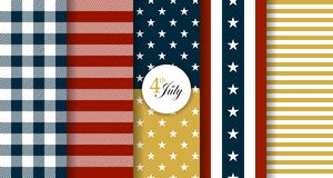 Free Stars And Stripes Style Seamless Patterns Royalty Free Stock Photography - 125349837