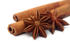Stars anise and cinnamon sticks Stock Photography