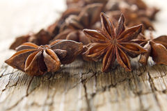 Stars anise on the wood Royalty Free Stock Images