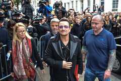 Stars arrive for Band Aid 30. London,UK 15th Nov 2014 : Bono attending the 15 Band Aid 30 - recording for Christmas charity single Do They Know It's Christmas? Royalty Free Stock Image