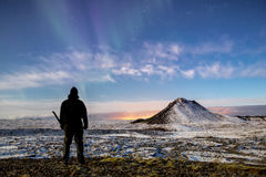 Stars and Aurora over Mt Keilir Royalty Free Stock Photo