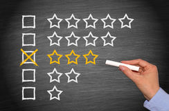 3 Stars - Average Performance. Female hand with chalk on blackboard background royalty free stock photography