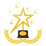Stars and award. Award statue in shape of star with laurel wreath on stand. Trophy for first place in competition, film festival, achievement and success. Flat Stock Image