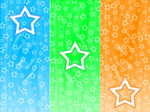 Stars background. Three big stars and many small stars on a color background Stock Photo