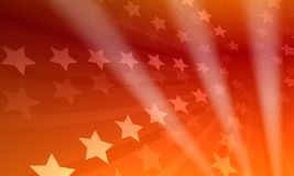 Stars background. Rendered red-stars background with three light rays royalty free illustration