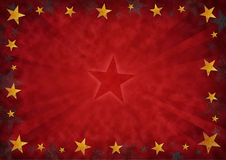 Stars background. Golden stars on a grunge red background Stock Photography