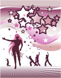 Stars background with dancing people. Vector illustration Royalty Free Illustration