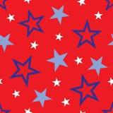 Stars background illustration. Background illustration of white and blue stars on red background Stock Photo