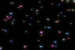 Stars Background. Illustration of light rainbow colored stars on night sky background stock illustration