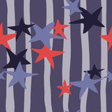 Stars on a background of lines. Seamless vector illustration for Stock Images