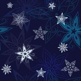 Stars background, night sky and stars seamless pattern. S vector illustration