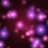 Stars background in violet. White stars over violet, pink and blue background with lights and gleams Stock Photography