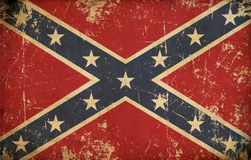 Stars and Bars. Old, scratched Confederate rebel battle flag Stock Photos