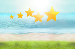 5 stars beach green grass ocean water 3d render Stock Photography