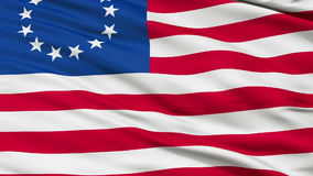 13 Stars Betsy Ross USA Close Up Waving Flag. 13 Stars Betsy Ross United States of America Flag, Close Up Realistic 3D Animation, Seamless Loop - 10 Seconds Long stock video footage