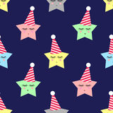 Stars with birthday caps background. Seamless night pattern with sleeping stars for kids holidays. Royalty Free Stock Photography