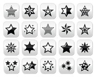Stars black buttons with reflection isolated on white Royalty Free Stock Photography