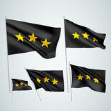 3 stars - black vector flags Stock Photos