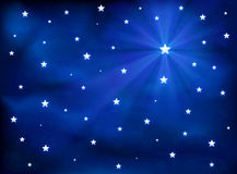 Stars in the blue sky stock illustration