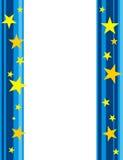 Stars border / frame. Dark blue and light blue retro lines with golden stars border / frame Royalty Free Stock Images