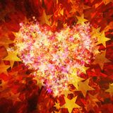 Stars burst background. S in hearts shape Stock Photography