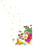 Stars, butterflies and flowers Royalty Free Stock Photo