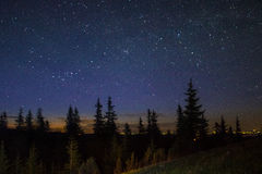Stars in the Carpathian Mountains Stock Photo