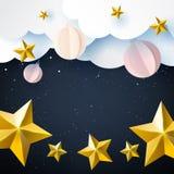 Stars and christmas ball on night sky winter season background royalty free stock photo