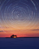 Stars circle. Over the frozen lake Stock Image