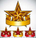 Stars classic emblems set. Golden ribbons and stars symbols. Red and gold metallic royal style royalty free illustration