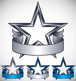 Stars classic emblems set. Golden ribbons and stars symbols. Silver and blue metallic royal style royalty free illustration