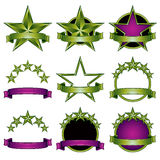 5 stars classic emblems set. Green and violet ribbons and stars symbols. Colorful royal style stock illustration