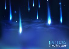 Stars cluster shooting meteors fall scatter, comets and astronomy light bright effect fantasy abstract background vector royalty free illustration