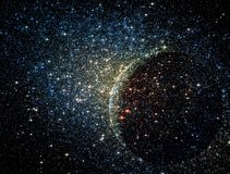 Stars clusters on the background of vast cosmic sphere. Stock Photo