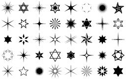 Stars collection. Black stars collection isolated on white background Stock Photography
