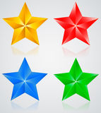 Stars & colored pentagonal star with shadows Stock Image