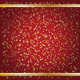 Stars confetti three colors on a red with vignette and gold stripes. Vector image royalty free illustration
