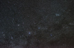 Stars of constellation cassiopeia. Star field with the constellation of Cassiopeia with visible open double cluster, H and Chi Persei royalty free stock photo