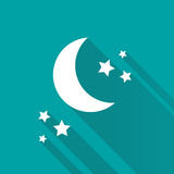 Stars and crescent on blue background. Royalty Free Stock Image