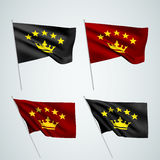 5 stars with crown - vector flags. A set of wavy 3D flags created using gradient meshes. EPS 8 vector stock illustration
