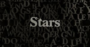Stars - 3D rendered metallic typeset headline illustration. Can be used for an online banner ad or a print postcard Royalty Free Stock Image