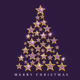 Stars decorated Xmas tree for Merry Christmas celebrations. Stars decorated shiny Xmas Tree for Merry Christmas celebration on purple background royalty free illustration