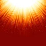 Stars descending on a path of golden light Stock Image