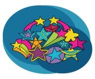 Stars design set. Cartoon free hand draw doodle. Stock Image