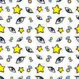 Stars Diamonds and Eyes Seamless Pattern. Fashion Background in Retro Comic Style Royalty Free Stock Image