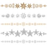 Stars Divider. Various dividers formed of golden and silver stars Royalty Free Stock Photo