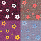 Stars and dots geometric seamless patterns Stock Photo