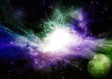 Stars, dust and gas nebula in a far galaxy Royalty Free Stock Image