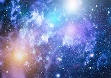 Stars, dust and gas nebula in a far galaxy. Royalty Free Stock Photography