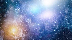 Stars, dust and gas nebula in a far galaxy. Royalty Free Stock Image